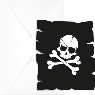 6 cartes d'invitation et enveloppes pirate tête de mort