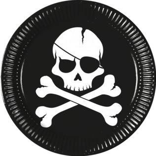 8 assiettes pirate tête de mort - 23 cm