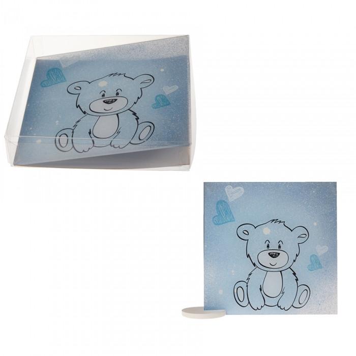 Cadre ourson valentin bleu 15 cm  (délai 10 jours )