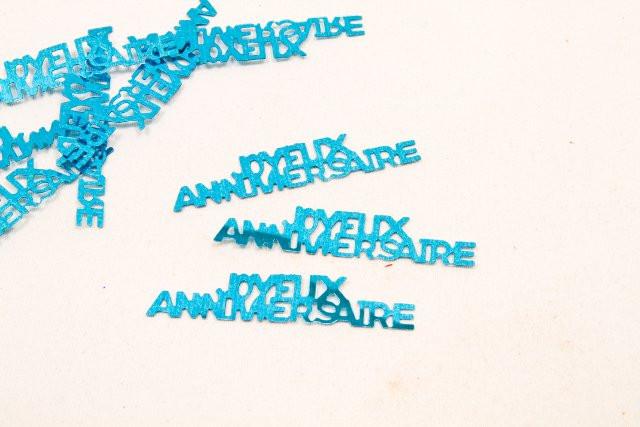 """Confettis de table """"Joyeux anniversaire"""" - Turquoise"""