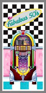 Décoration de porte 50's - thème Rock and Roll