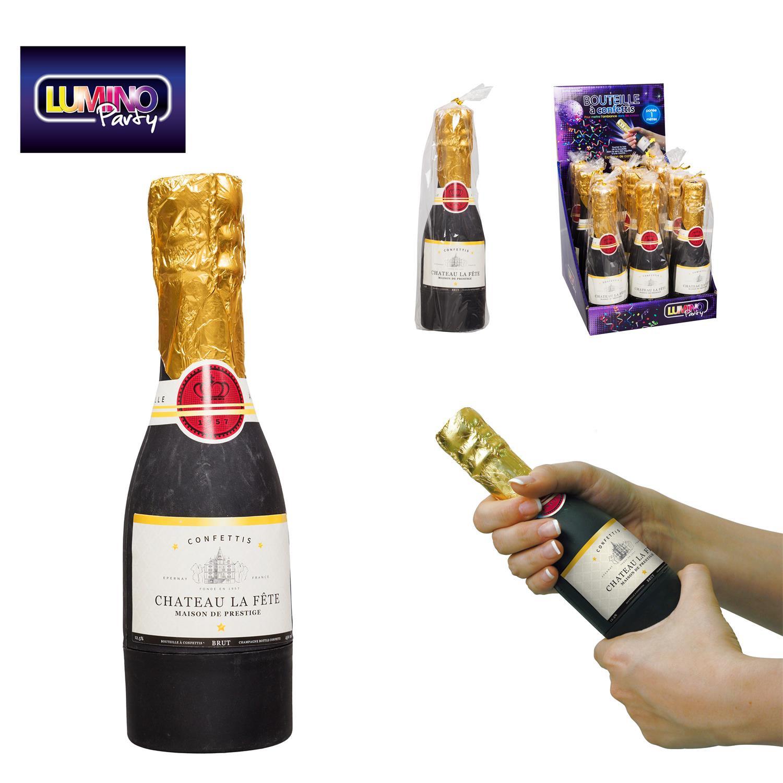 bouteille champagne confettis de hauteur 20 cm prix cass. Black Bedroom Furniture Sets. Home Design Ideas