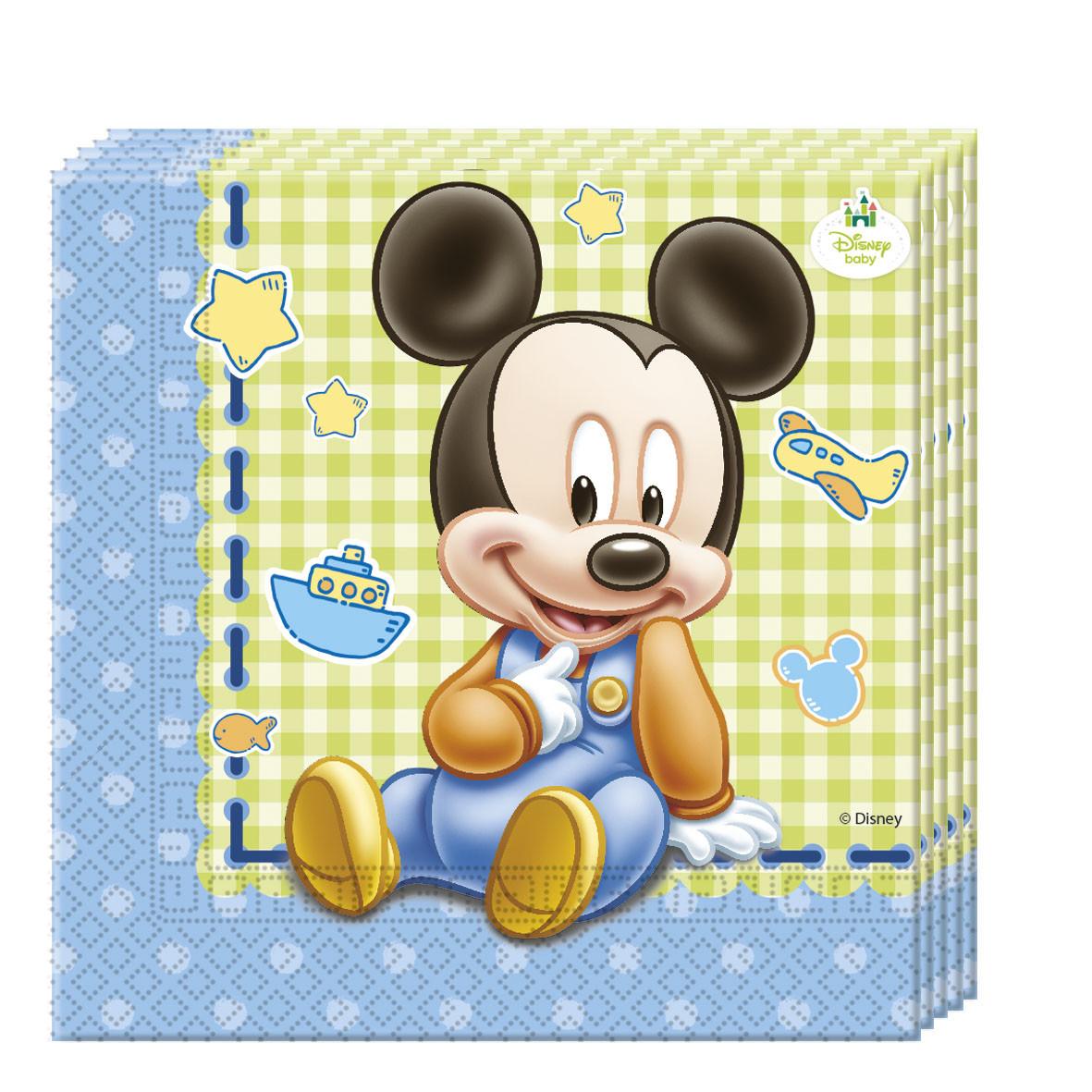 20 serviettes en papier 33 x 33 cm - Mickey Baby