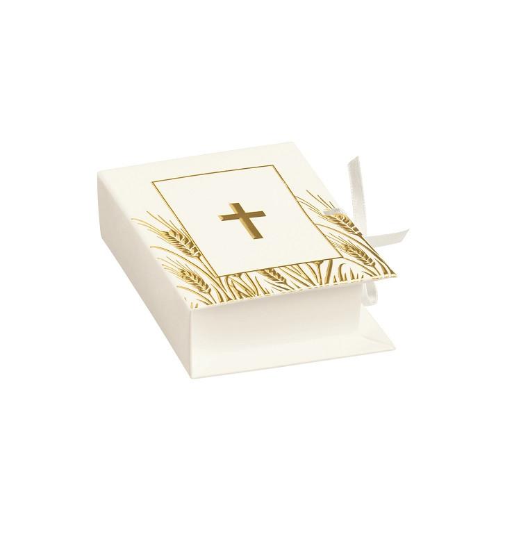 10 Boîtes à dragées livre or et blanc