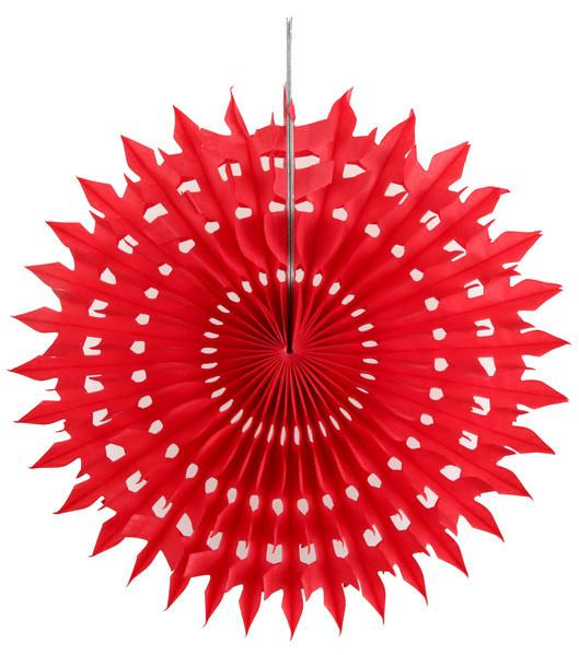 2 Eventails en papier dentelle rouge 20 cm