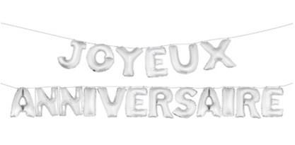 """18 ballons lettres """"Joyeux Anniversaire"""" couleur argent"""