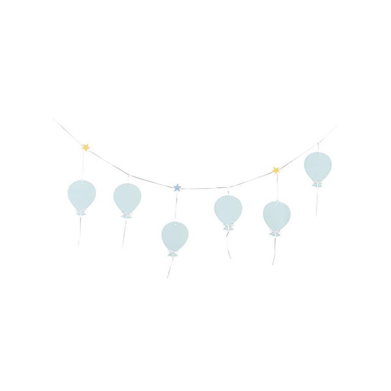 Guirlande de 6 ballons bleus ciel en tissu 1m60