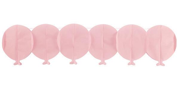 Guirlande papier ballon - rose - 15 cm x 3 m