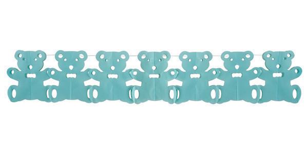 Guirlande papier ourson - bleu - 15 cm x 3 m