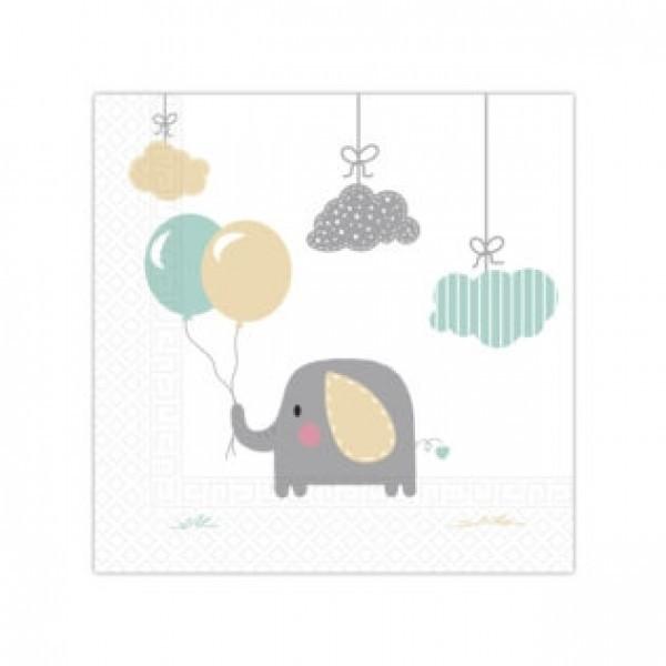 16 Serviettes anniversaire Elephant- 33 cm