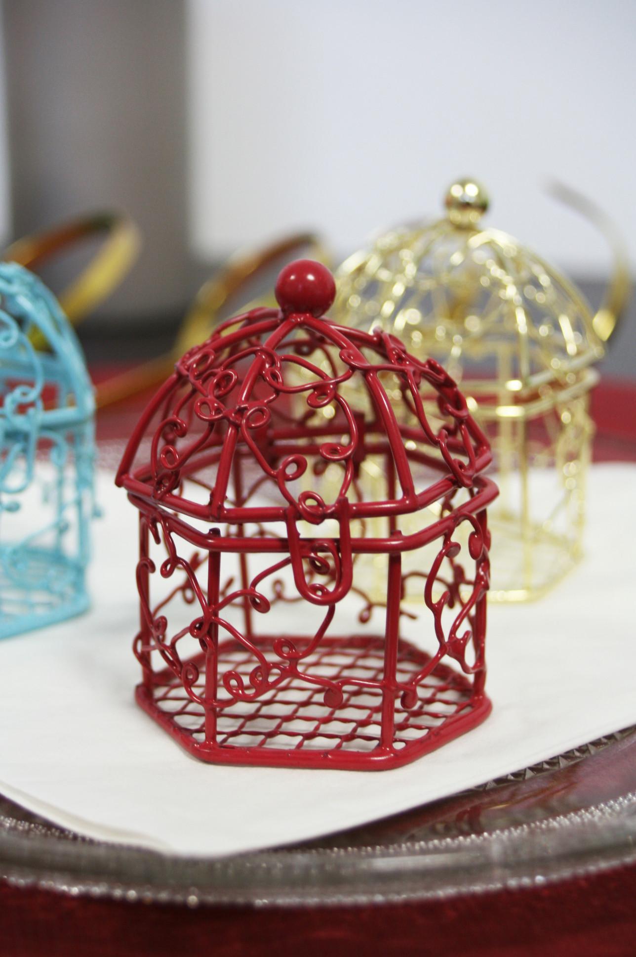 Cage en métal - bordeaux - 5,5 cm
