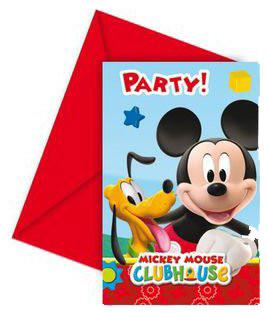 Lot de 6 Invitations Mickey Playful