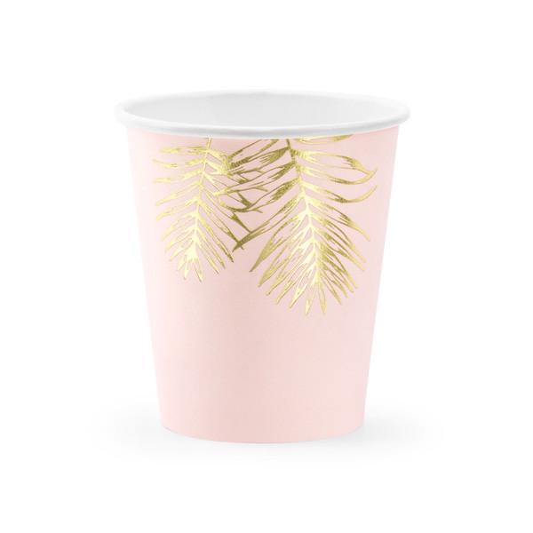 Gobelet en carton rose et feuilles dorées