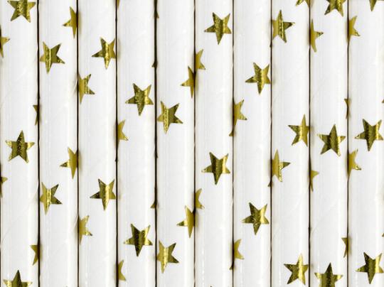 10 X Paille blanche et étoile dorées