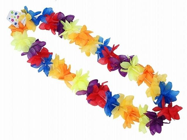 Collier hawaïen à fleurs multicolores vives