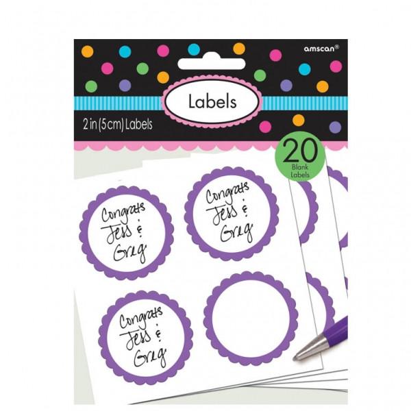Lot 20 étiquettes autocollantes Candy Bar - violet