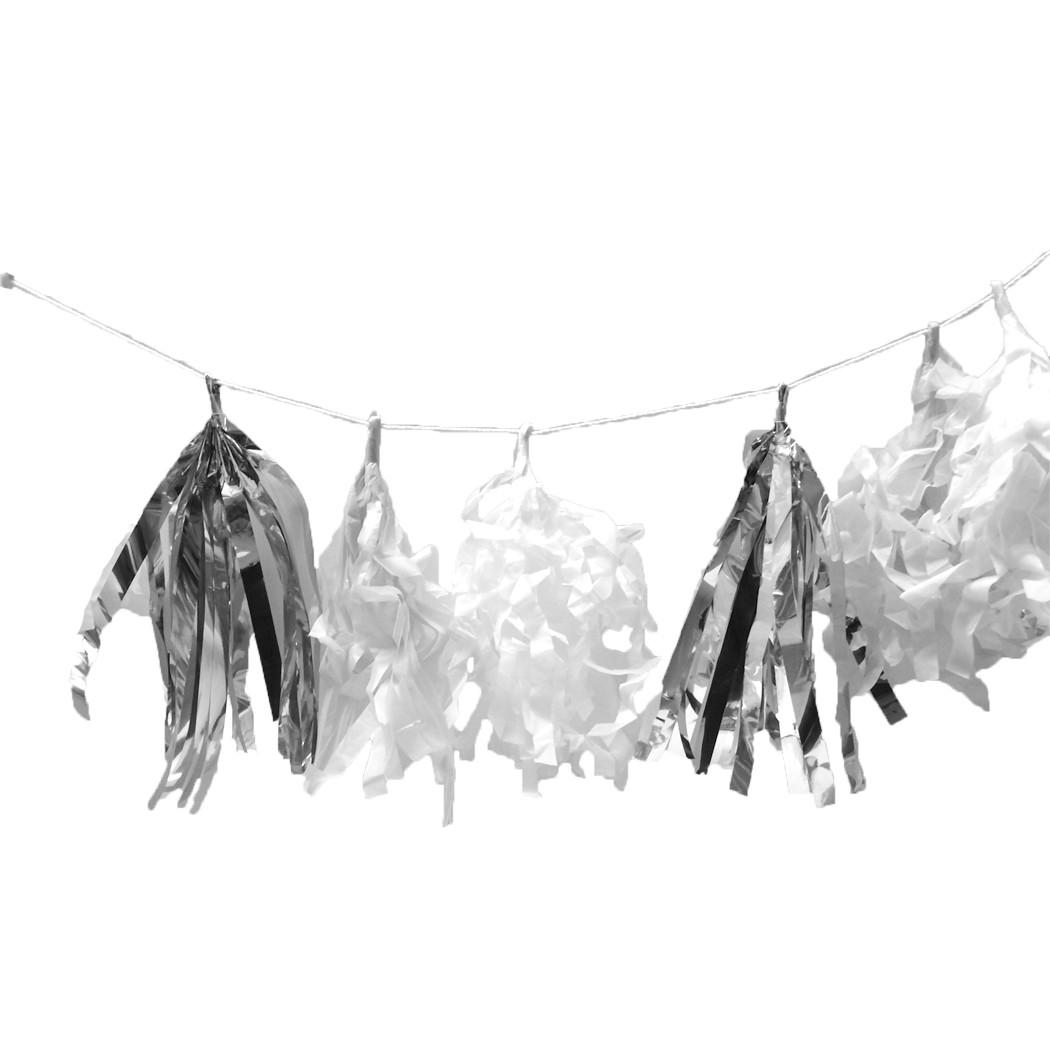 Guirlande tassel franges argent, blanc