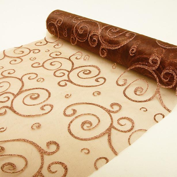 Rouleau organdi arabesque - marron