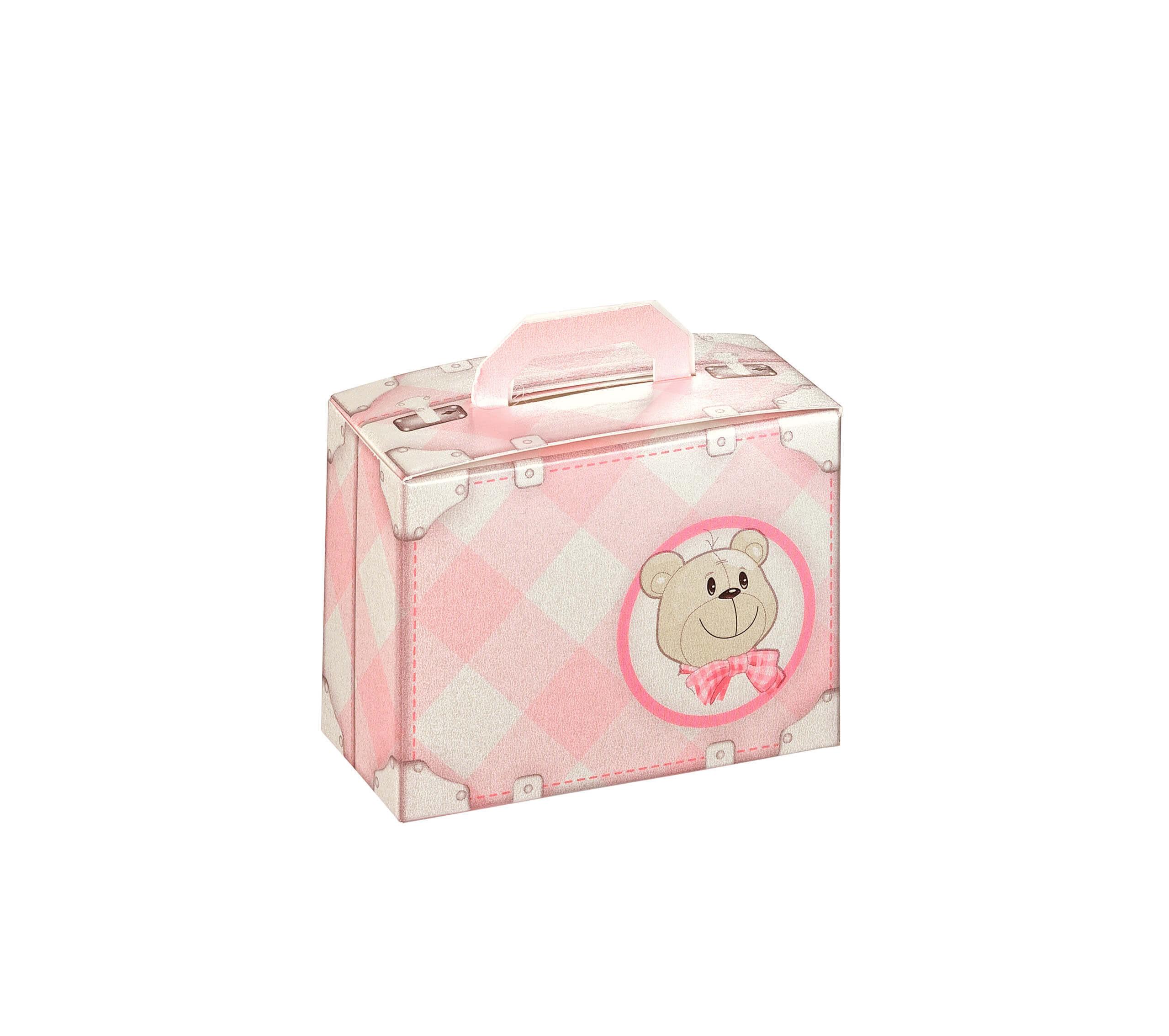 10 Boîtes à dragées valise ourson rose