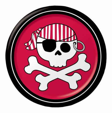 8 assiettes Pirate Party rouge - Ø 18 cm