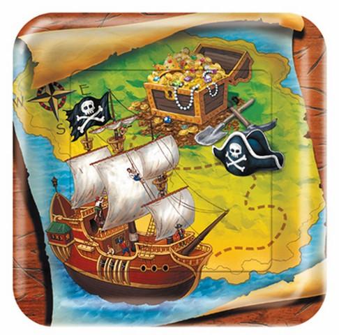 8 assiettes navire pirate - Ø 23 cm