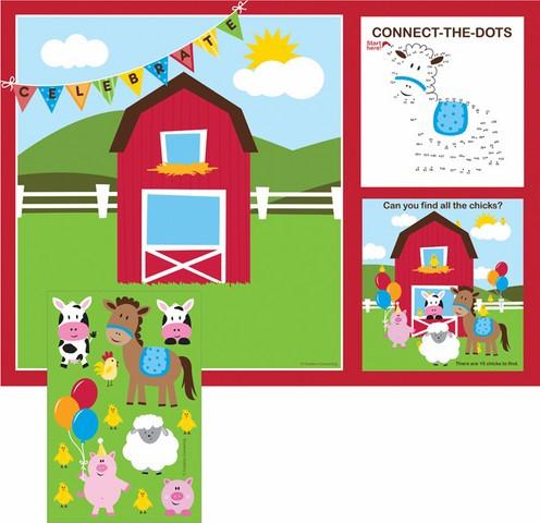 Set de table - stickers animaux de la ferme  x8