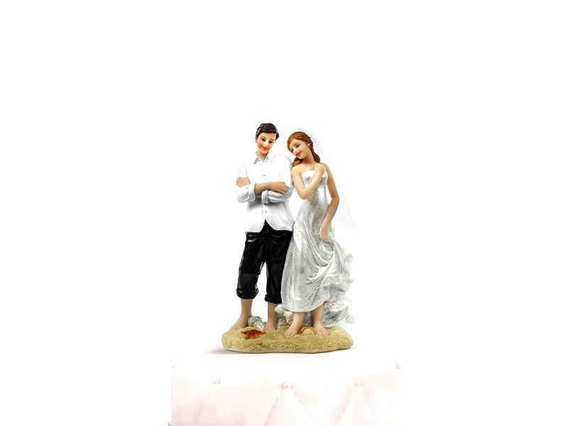 Sujet jeunes mariés sur la plage - 15,5 cm