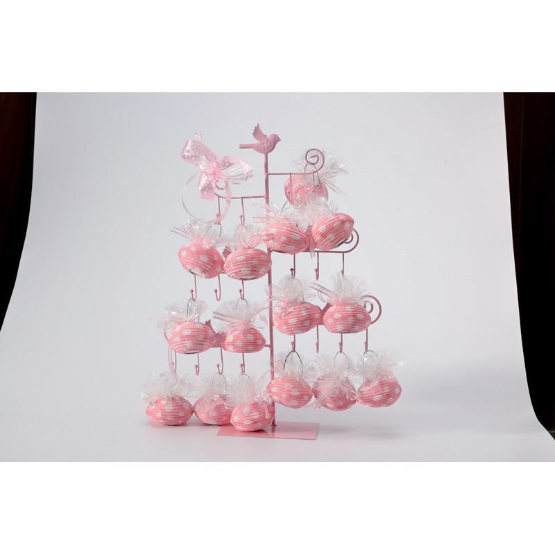 Présentoir oiseaux crochets rose, présentoir dragées ...