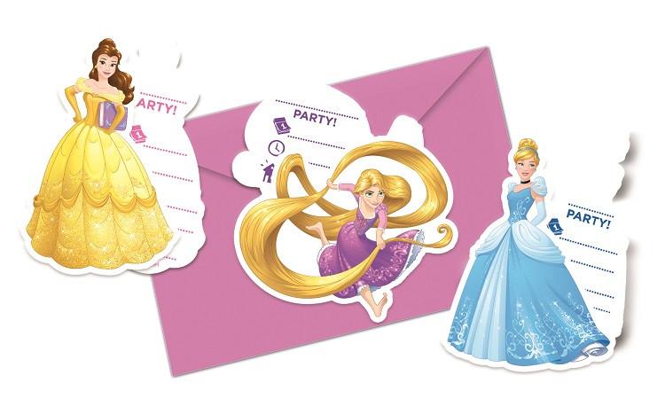 6 Invitations Princesses Disney