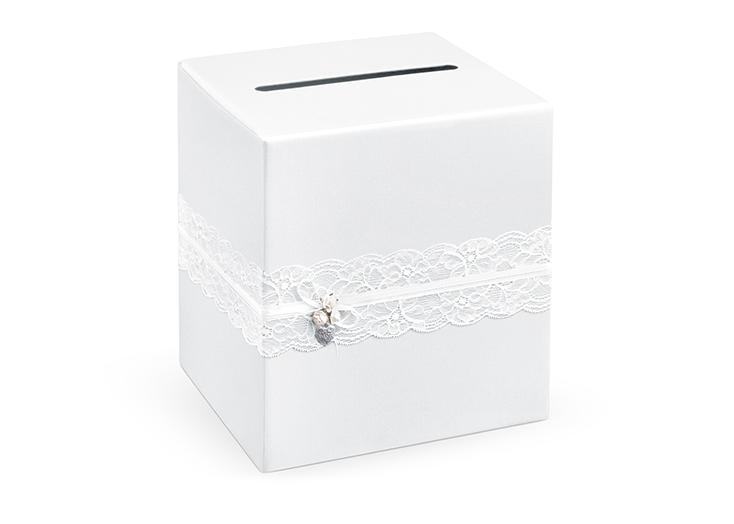 Urne mariage blanche avec dentelle