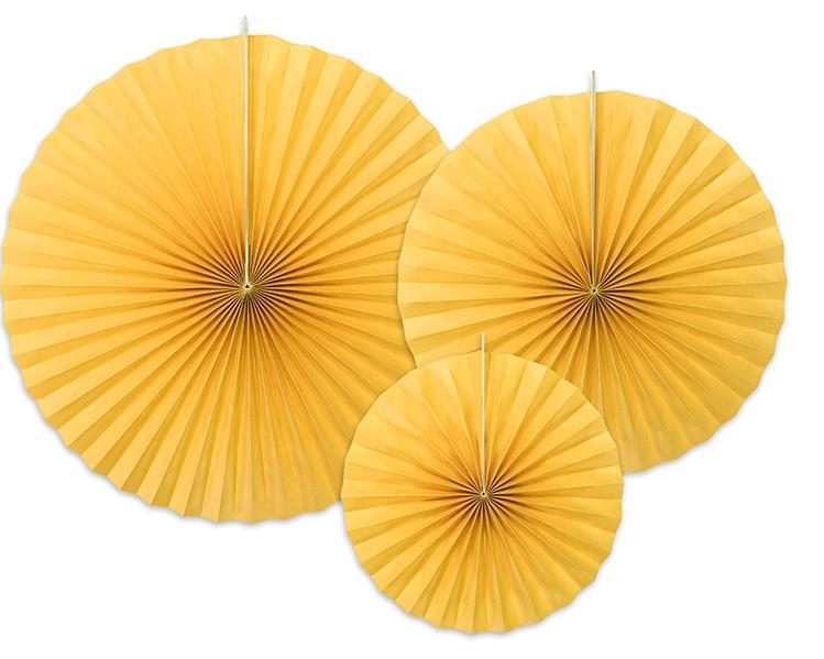 3 Rosaces décoratives jaune soleil