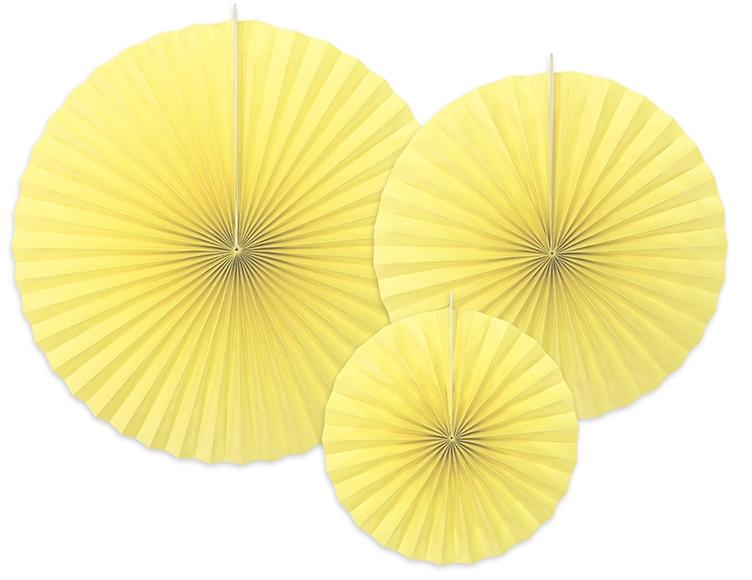 3 Rosaces décoratives jaune citron