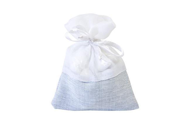 5 Sachets à dragées en jute et coton bleu ciel pas chers