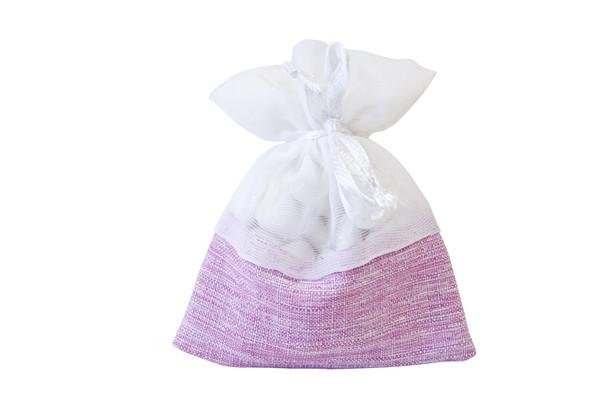 5 Sachets à dragées en jute rose et coton blanc à prix discount