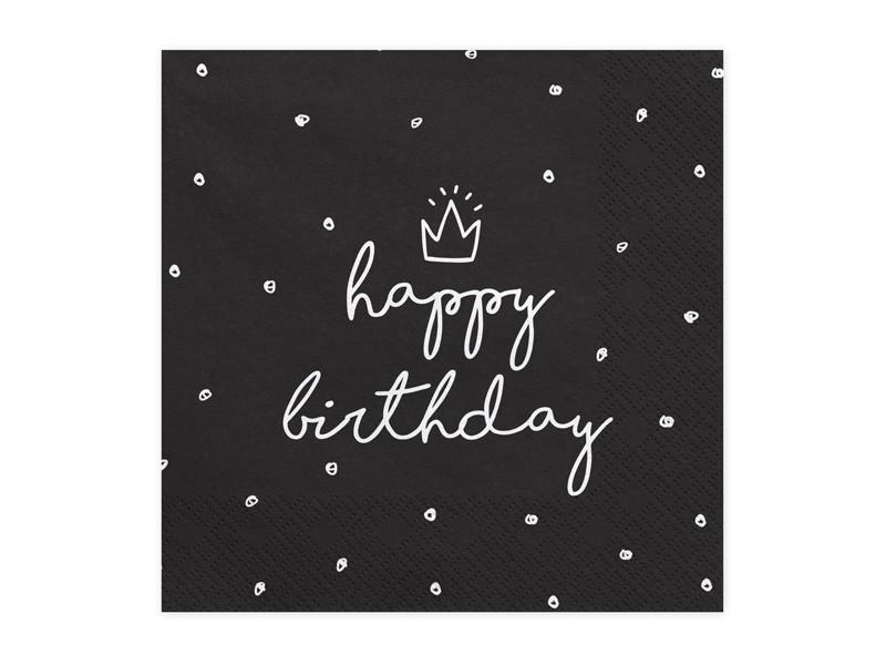20 serviettes jetables happy birthday noires à pois blancs