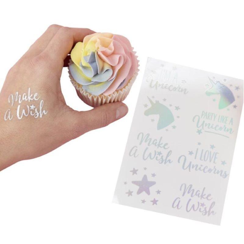 tatouages temporaires licorne iridescent x16