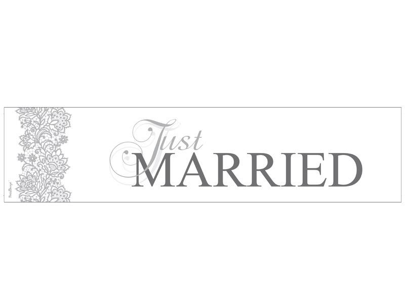 """Plaque minéralogique en carton """"Just married"""""""