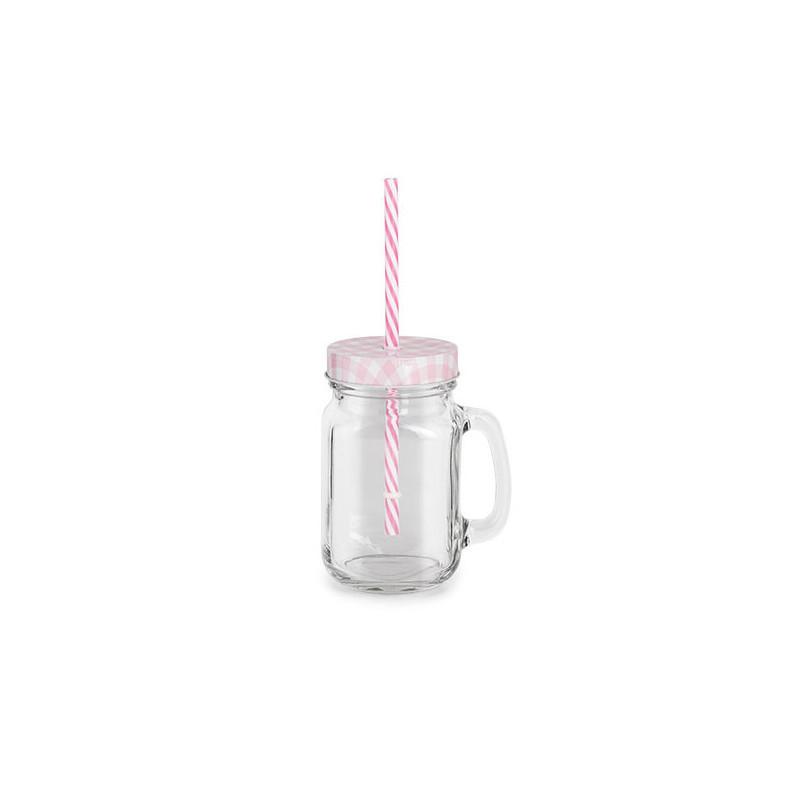Verre à anse couvercle et paille rose et blanc h 13,4 cm