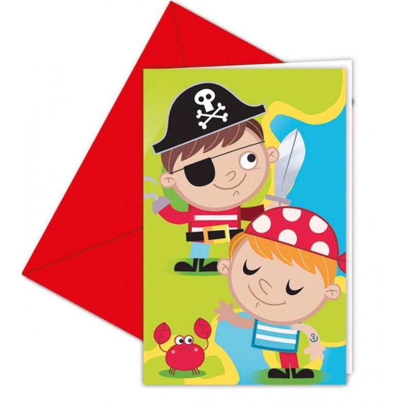Invitations + enveloppes Pirate
