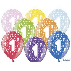 6 ballons multicolores 1er anniversaire