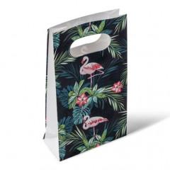 6 pochettes cadeaux tropicales flamant rose