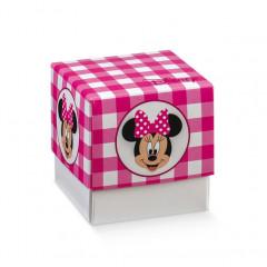 x10 Boite à dragées cube Minnie fuchsia