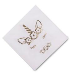 16 serviettes jolie licorne dorée