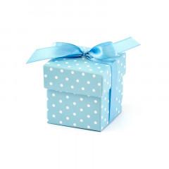 boites dragées bleues pois blancs - 1