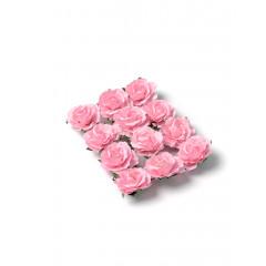 12 Roses papier sur tige roses