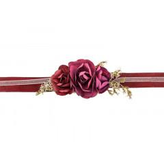 Bracelet fleur bordeaux ajustable