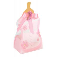 10 Boîtes à dragées biberon rose