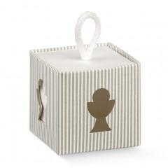 10 Boîtes à dragées cube calice rayé