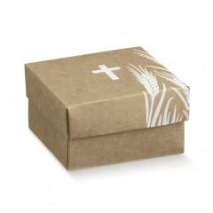 10 Boîtes à dragées kraft croix blanche