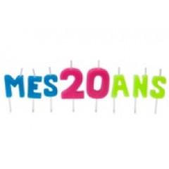 """Bougies lettres sur piques """"Mes 20 ans"""""""